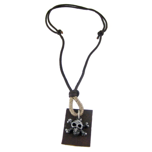 Skull Crossbones Pendant W/ Leather Cord Necklace Mens Pendant Necklaces