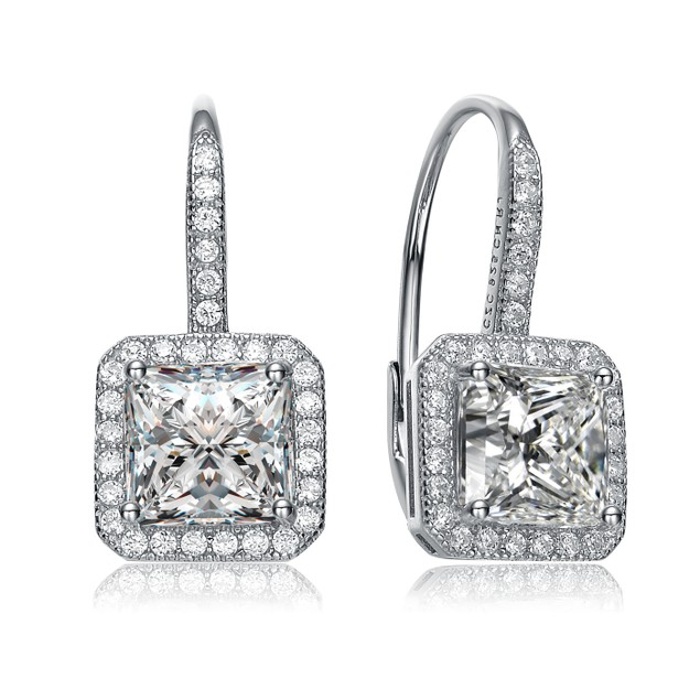 C.Z. Sterling Silver Rhodium Plated Square Stud Earrings