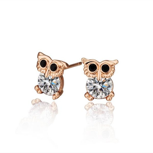 Rose Gold Plated Mini Owl Earrings
