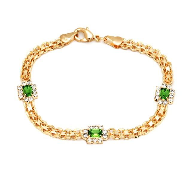 18K Gold & Peridot Crystal Bracelet