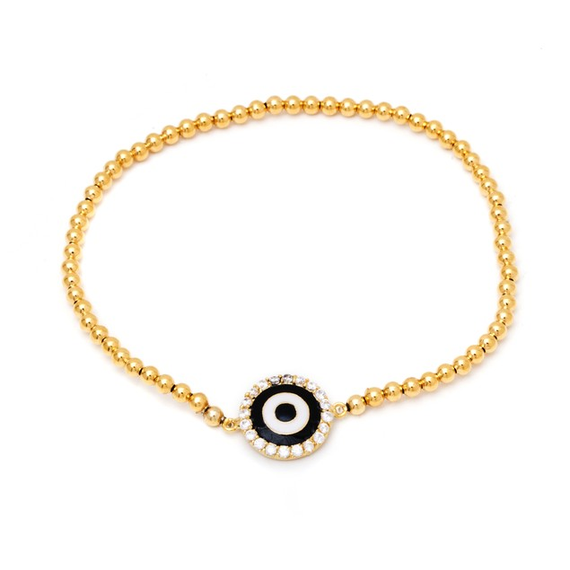 Gold Plated Black and White Evil Eye Bead Bracelet