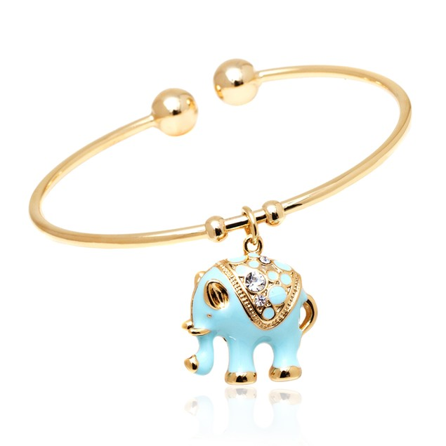 Gold and Blue Enamel Elephant Charm Bangle