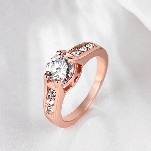 Gold Plated Micro Pave Classic Ring