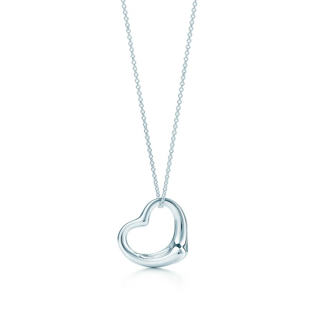 """White Gold Plated Heart Pendant With 18"""" Necklace"""