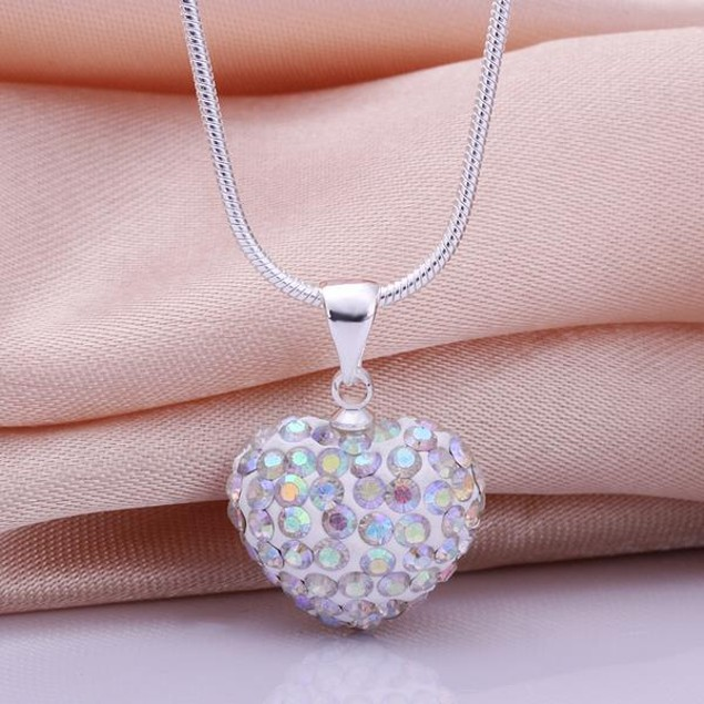 Solid Austrian Stone Heart Shaped Necklace - Ivory