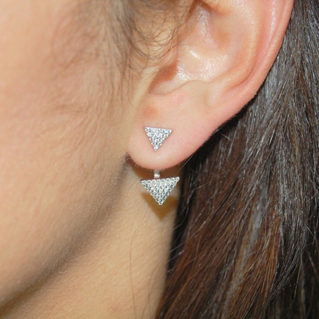 Sterling Silver Pave CZ Earring Jackets