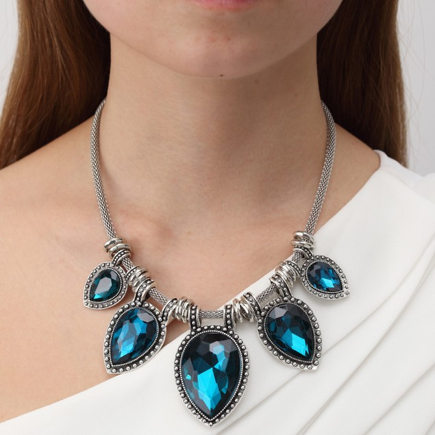 Leaf Water Drop Crystal Antique Statement Necklace
