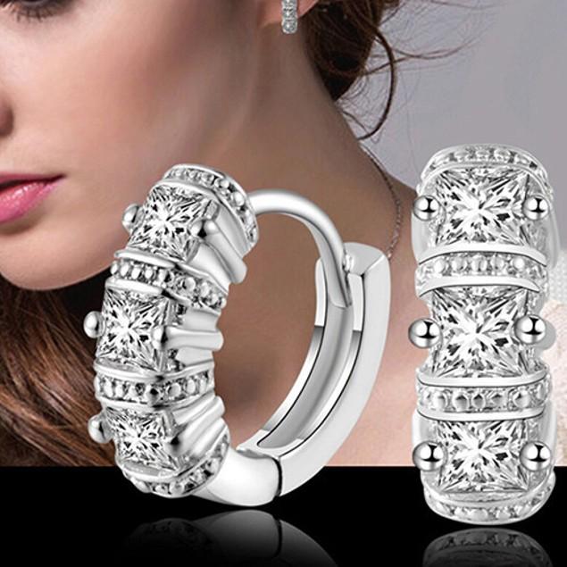 Princess-Cut Cubic Zirconia Huggie Earrings