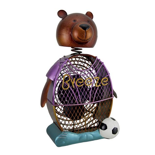 Deco Breeze Soccer Bear Decorative Metal Figurine Statues