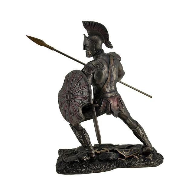 Achilles Trojan War Greek Hero Statue W/Shield And Statues