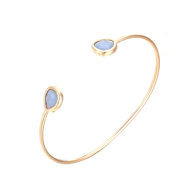 Gold Plated Vivid Turquoise Gem Open Ended Bangle