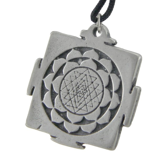 Solid Pewter Sri Yantra Symbol Pendant W/ Cord Mens Pendant Necklaces