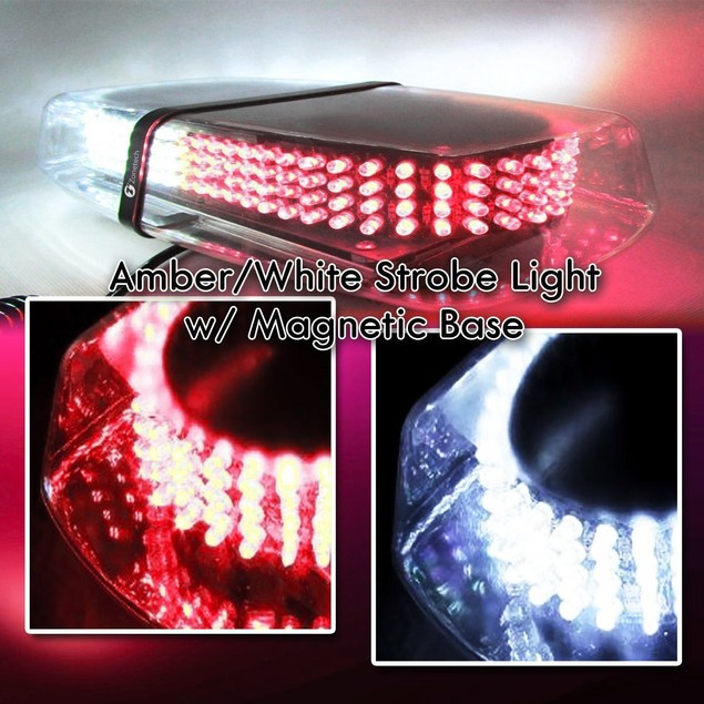 Zone Tech Red/White Rooftop Emergency Warning LED Strobe Light Magnet Base