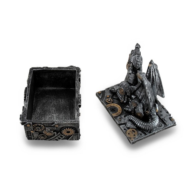 Silver / Gold Enamel Steampunk Dragon Mini Trinket Decorative Boxes