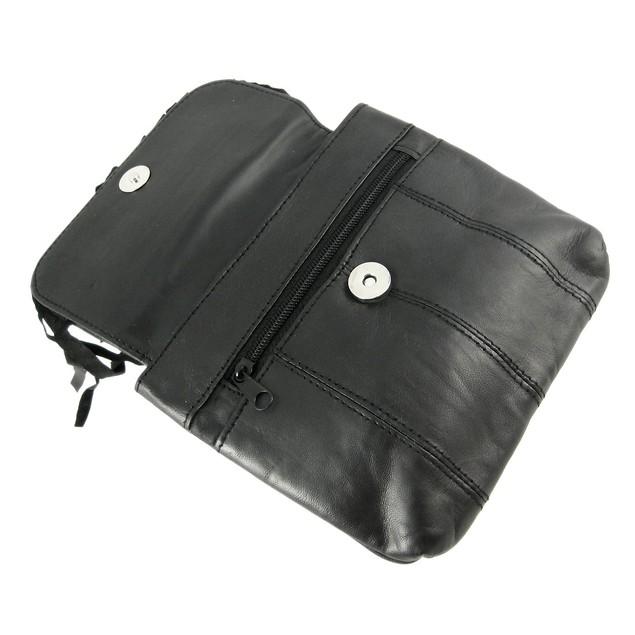 Black Leather Fringe Biker Ride Bag Belt Loop Womens Ride Bags
