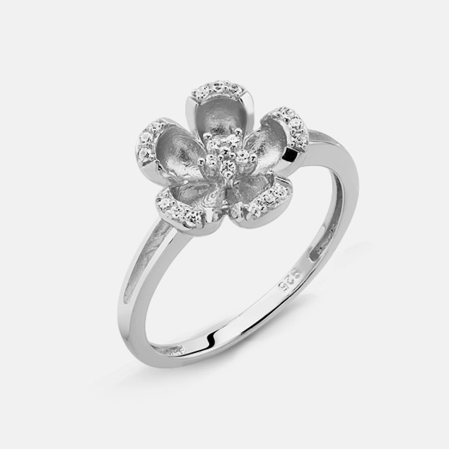 Sterling Silver and Simulated Diamond Accent Ring