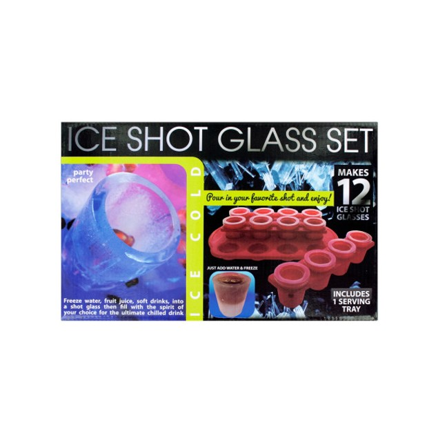 12 Piece Ice Shot Glass Set With Bonus Tray