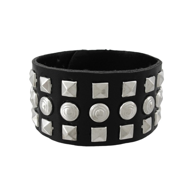 Black Vinyl Wristband With Pyramid/Chrome Studs Mens Cuff Bracelets