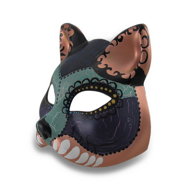 Colorful Cat Half-Face Mardi Gras Style Masquerade Wall Sculptures