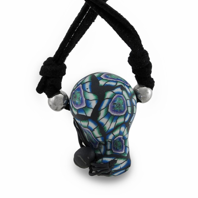 Tie Dye Skull W/Black Spider On Slider Cord Mens Pendant Necklaces