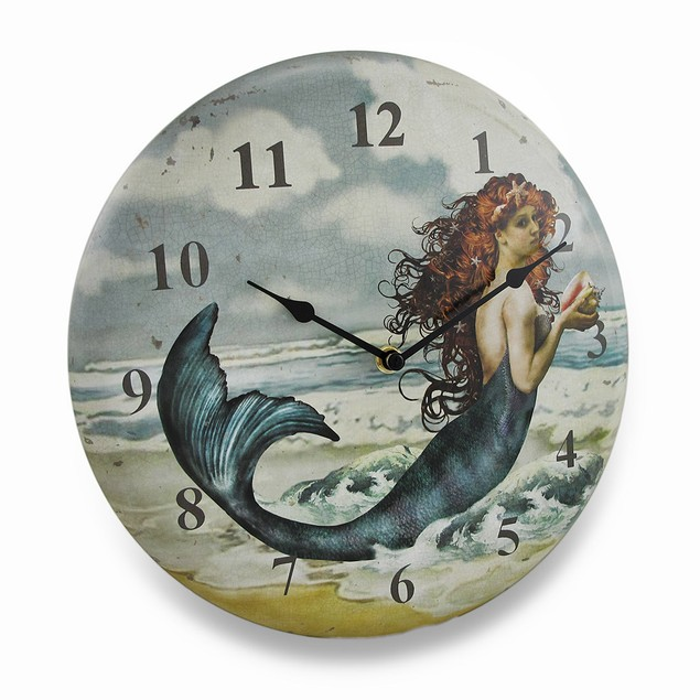 Pretty Mermaid On The Beach Weathered Finish Metal Wall Clocks