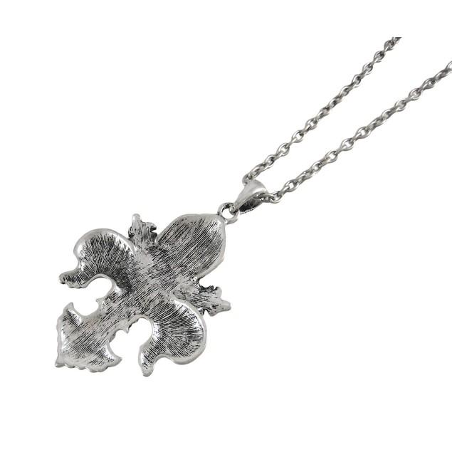 Beautiful Fleur De Lis Pendant W/ 28 Inch Necklace Womens Pendant Necklaces