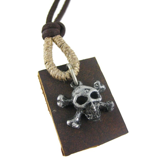 Skull Crossbones Pendant W/ Leather Cord Necklace Mens Pendant Necklaces