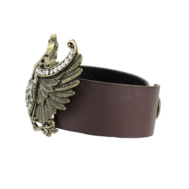 Brown Vinyl Winged Rhinestone Heart Bracelet Womens Cuff Bracelets