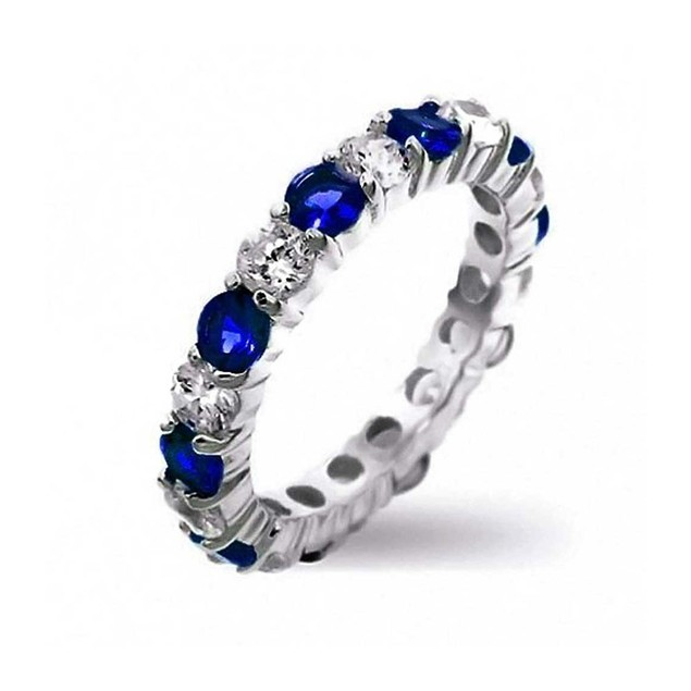 Alternating Blue & White Cubic Zirconia Eternity Band Ring