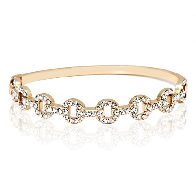 White Crystals Multi Ring Bangle Bracelet