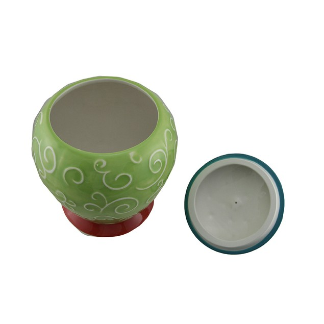 Whirl Of Swirls Multicolor Ceramic Rooster Cookie Jars