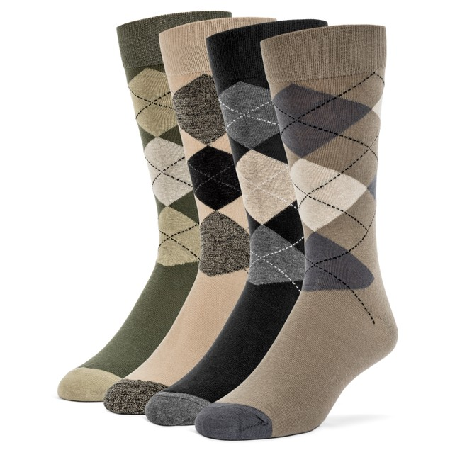 Galiva Men's Cotton Assorted Argyle Dress Socks - 4 Pairs