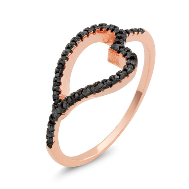 Rose Tone Sterling Silver Black CZ Sideways Heart Ring