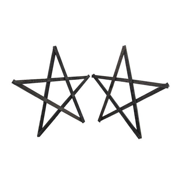 Set Of 2 Rustic Dark Gray Weathered Wood Stars 20 Decorative Plaques