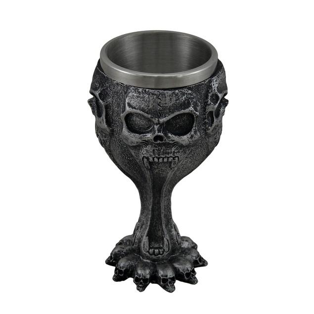 Silent Screaming Skull Face Metallic Black Goblets