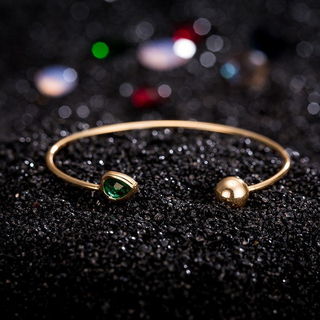 Gold Plated Beverly Hills Emerald Gem Inspired Open Ended Bangle