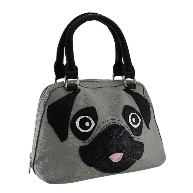 Pug Puppy Face Satchel Handbag W/Removable Strap Womens Shoulder Handbags
