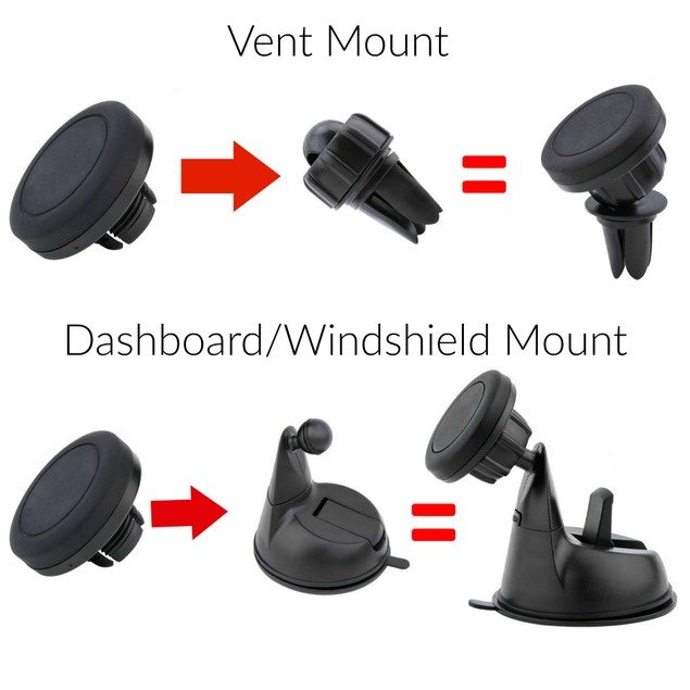 Encust Universal 3 in 1 Dashboard Windshield Vent Magnetic Phone Car Mount
