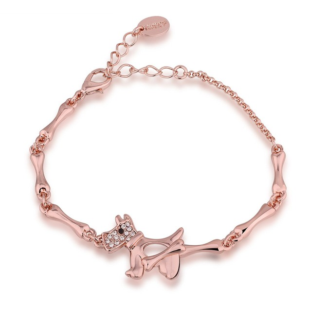 Rose Gold Plated Puppy Bracelet with Austrian Crystal
