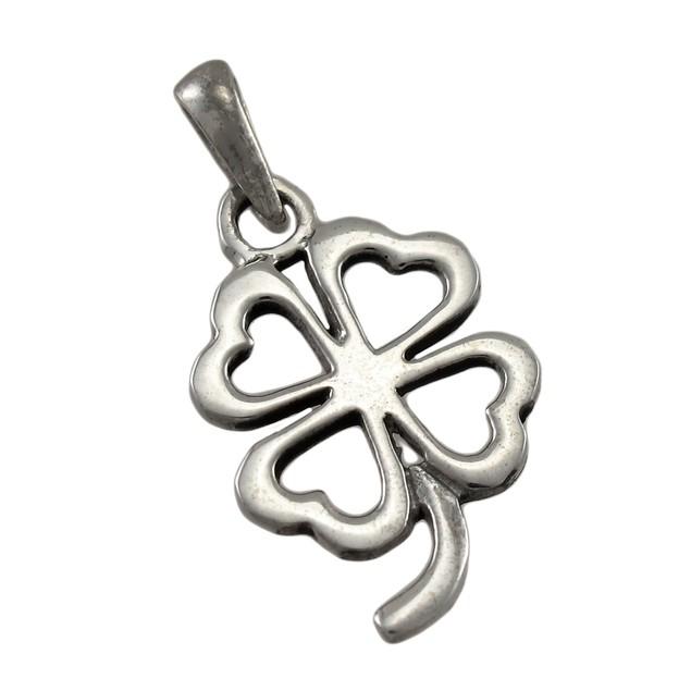 Sterling Silver Cutout 4 Leaf Clover Good Luck Mens Pendants