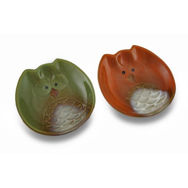 Set Of 2 Harvest Owl Ceramic 5 1/2 Inch Diameter Dessert Plates