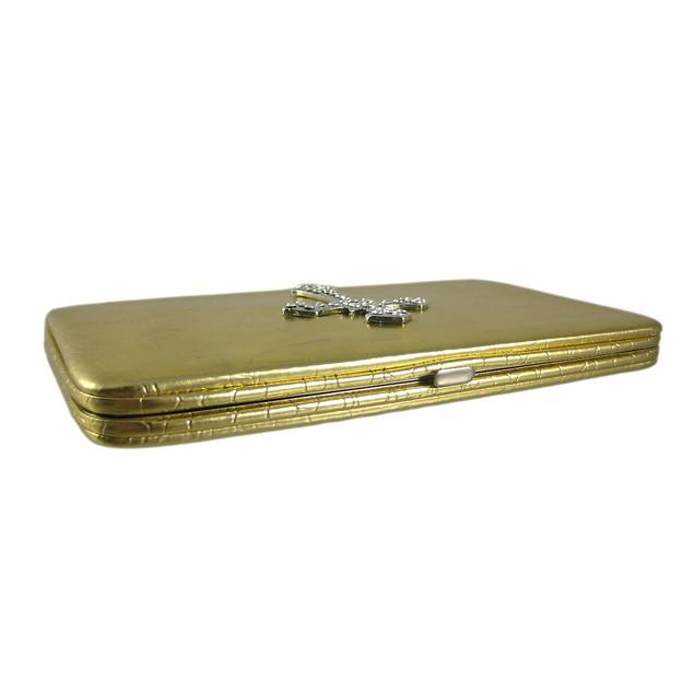 Metallic Gold Mock Croc Rhinestone Cross Wallet Womens Wallets