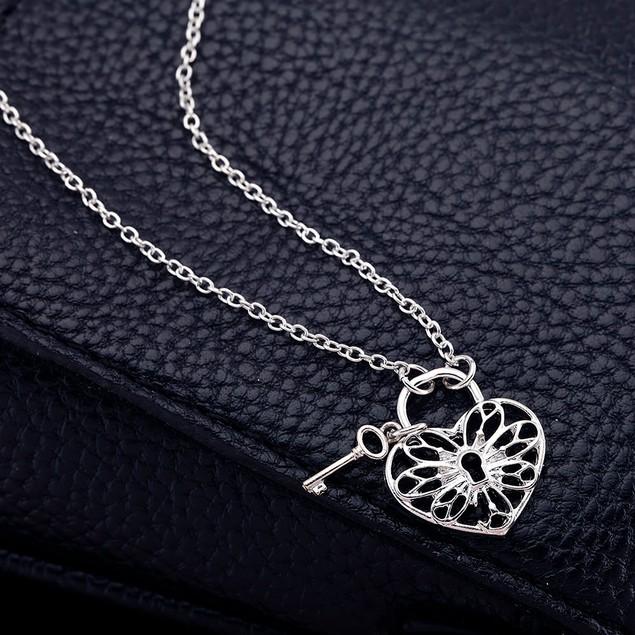 Designer Inspired Heart & Lock Necklace