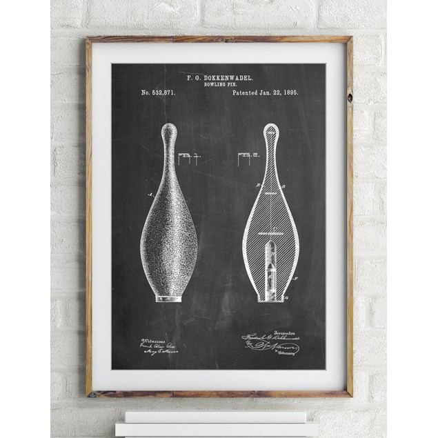 Vintage Bowling Pin Patent Poster