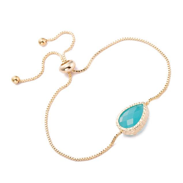 Gold Plated Oval Vivid Turquoise Gem Bracelet