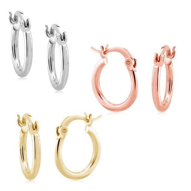 3-Pack Tri Color Hoop Earrings