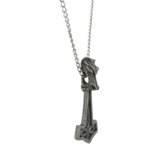 Solid Pewter Wolf Hammer Empowerment Pendant W/ Mens Pendant Necklaces