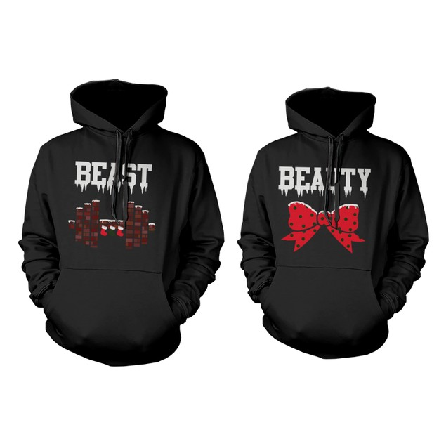 Beauty and Beast Winter Edition Matching Outfit Cute X-Mas Couple Hoodies
