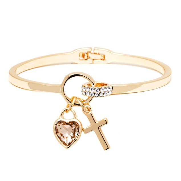18K Gold & Topaz Crystal Elements Heart Cross Cuff