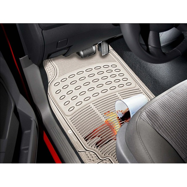 Zone Tech 3 Row 4 Piece Beige Universal Rubber All Weather Car Floor Mats